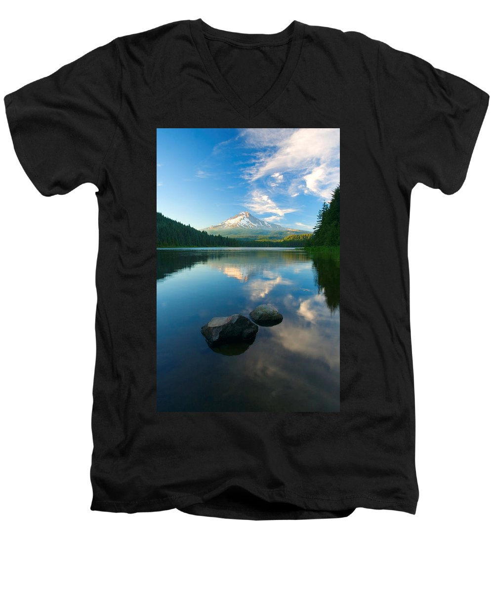 Mt. Hood Men's V-Neck T-Shirt featuring the photograph Mt. Hood Cirrus Explosion by Mike Dawson