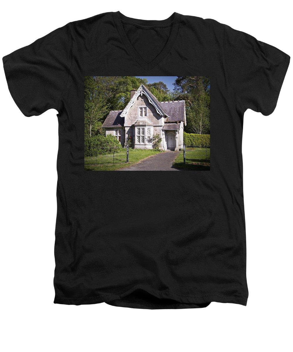 Irish Men's V-Neck T-Shirt featuring the photograph Muckross Cottage Killarney Ireland by Teresa Mucha