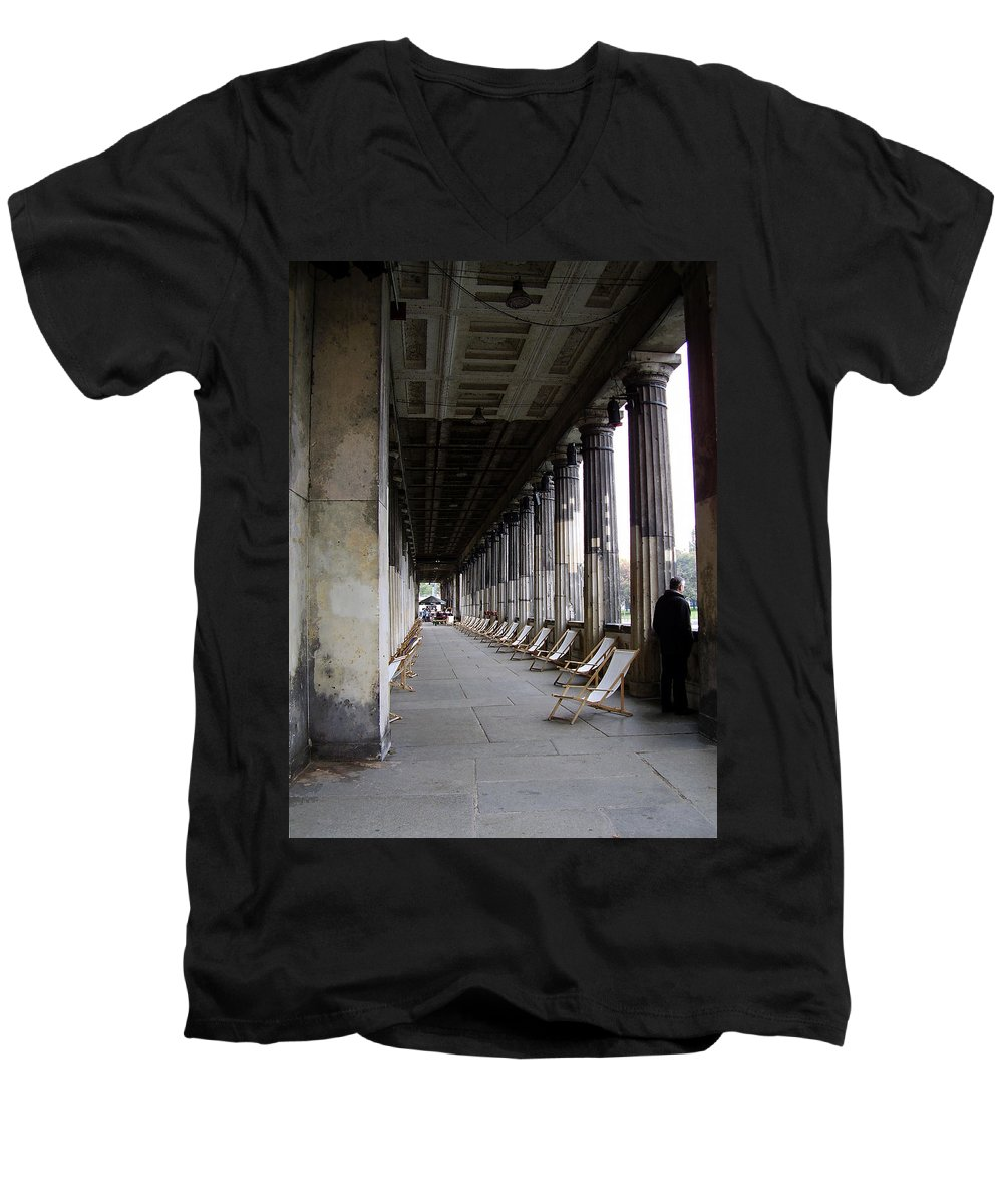 Museumsinsel Men's V-Neck T-Shirt featuring the photograph Museumsinsel by Flavia Westerwelle