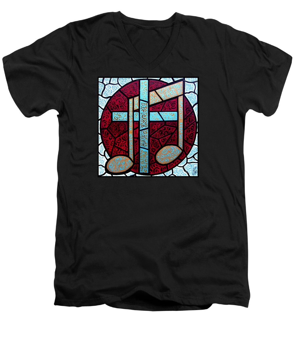 Cross Men's V-Neck T-Shirt featuring the painting Music Of The Cross by Jim Harris