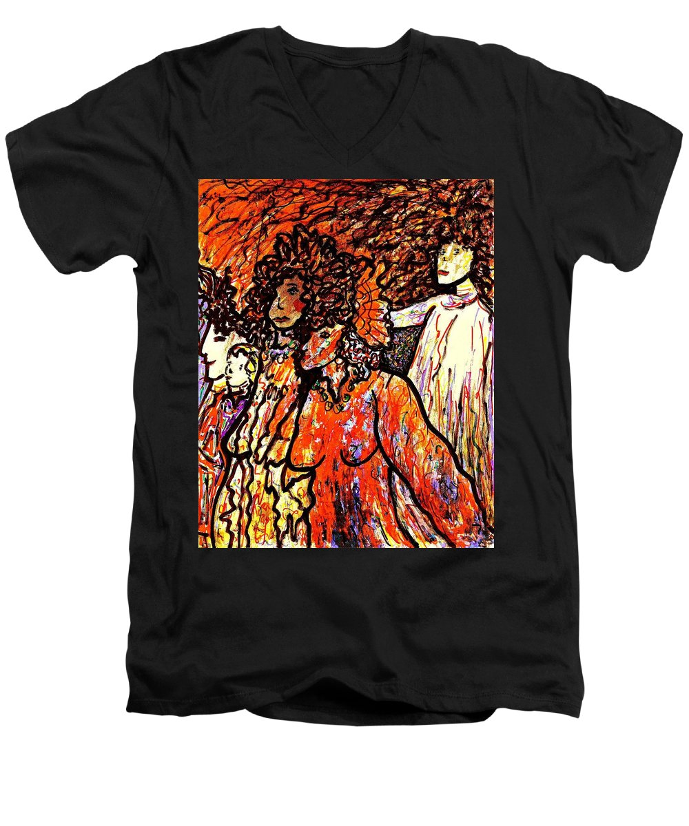 Figurative Art Men's V-Neck T-Shirt featuring the painting Musical Recital by Natalie Holland