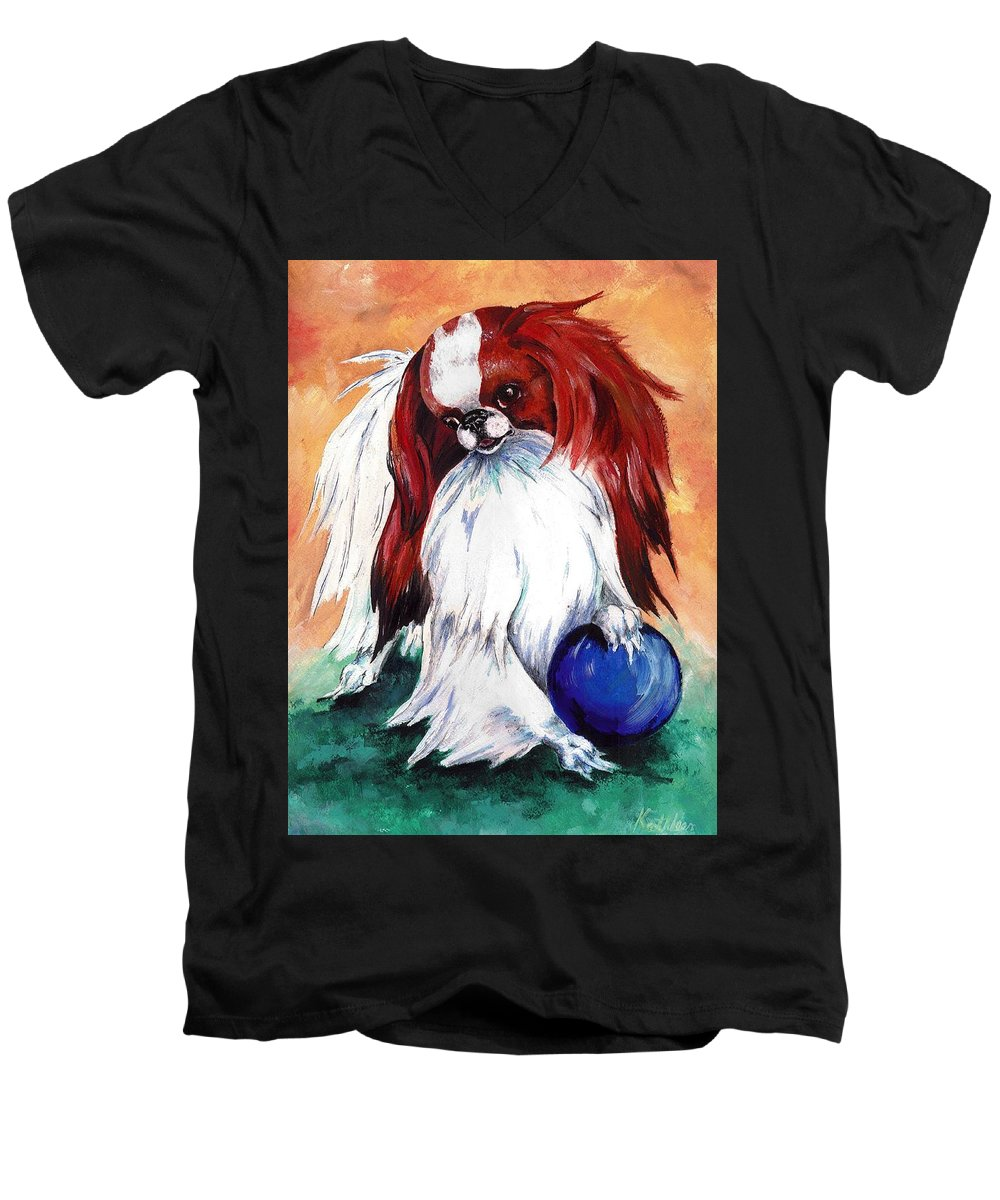 Japanese Chin Men's V-Neck T-Shirt featuring the painting My Ball by Kathleen Sepulveda