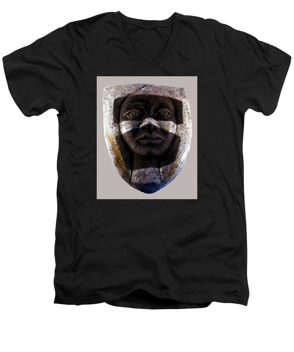 Ceramic Men's V-Neck T-Shirt featuring the relief My Veils I by Madalena Lobao-Tello