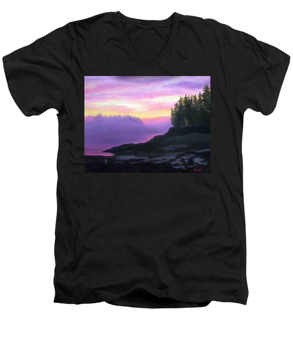Sunset Men's V-Neck T-Shirt featuring the painting Mystical Sunset by Sharon E Allen