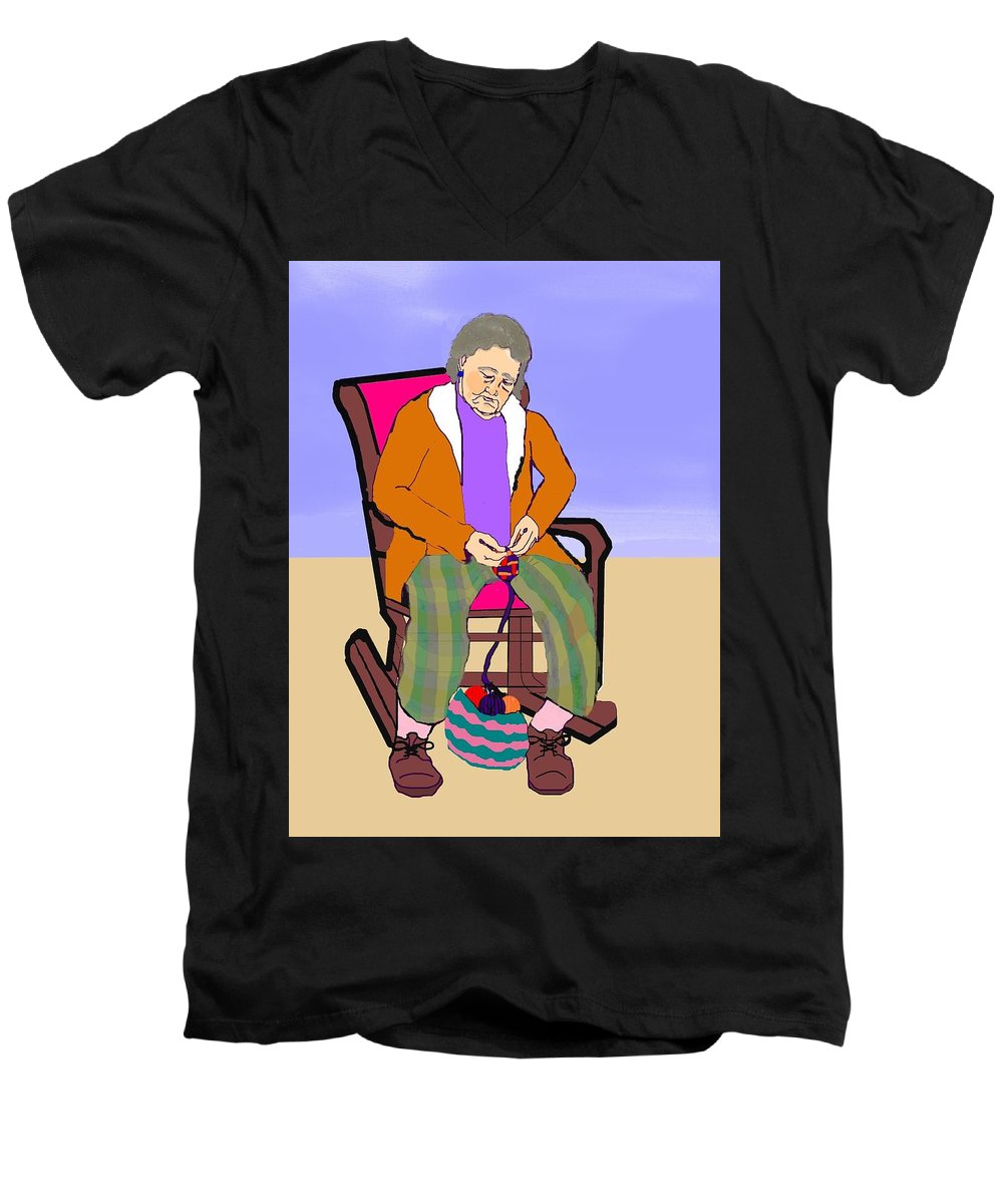 Grandmother Men's V-Neck T-Shirt featuring the digital art Nana Knitting by Pharris Art