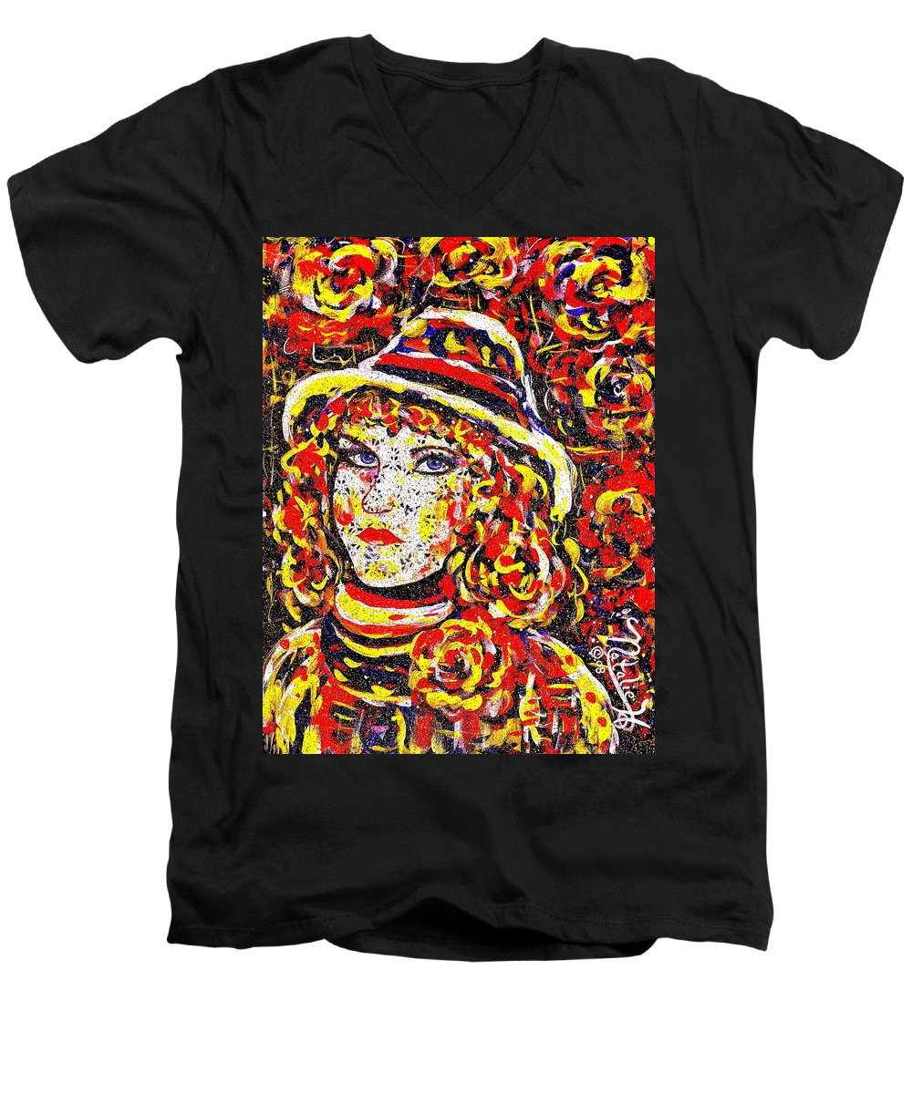 Woman Men's V-Neck T-Shirt featuring the painting Nat With The Hat by Natalie Holland