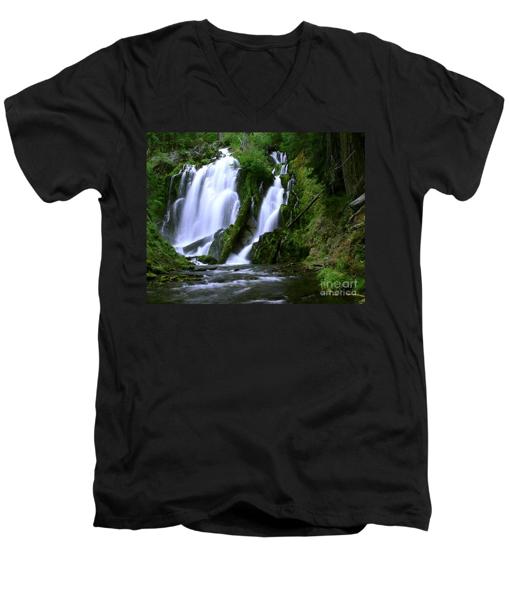 Waterfall Men's V-Neck T-Shirt featuring the photograph National Creek Falls 02 by Peter Piatt