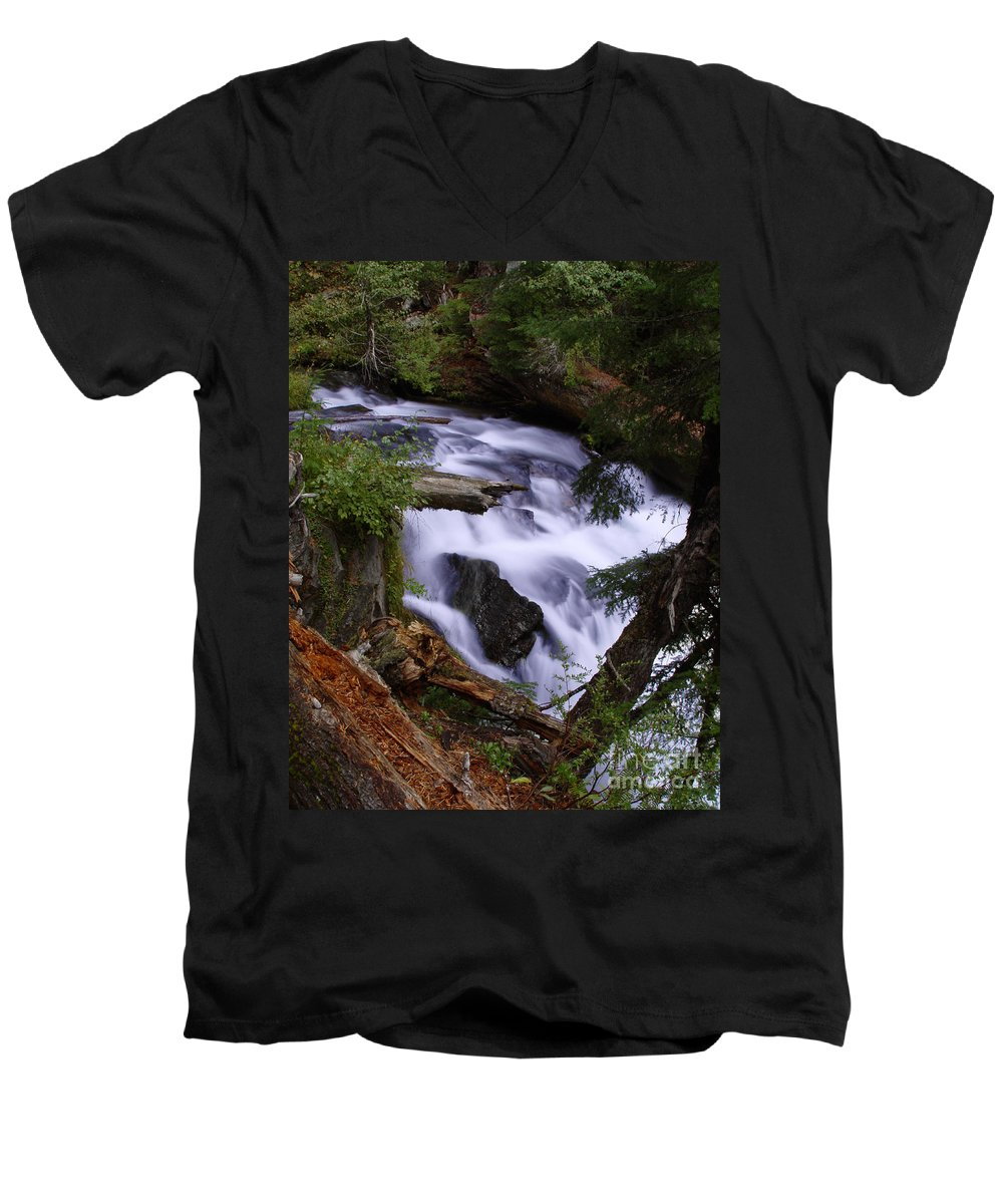 Waterfall Men's V-Neck T-Shirt featuring the photograph National Creek Falls 03 by Peter Piatt