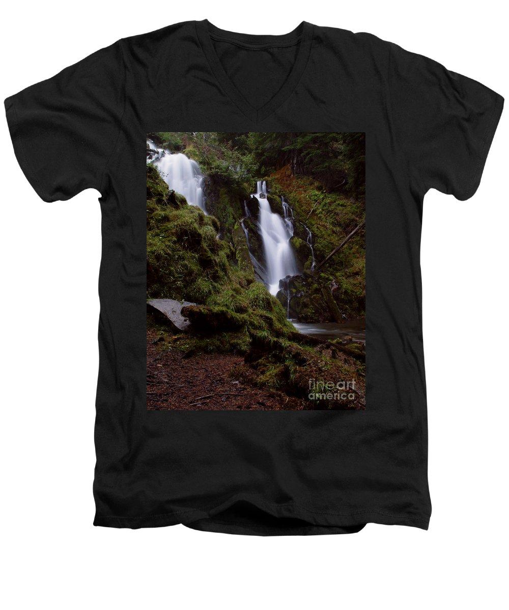 Waterfall Men's V-Neck T-Shirt featuring the photograph National Creek Falls 04 by Peter Piatt