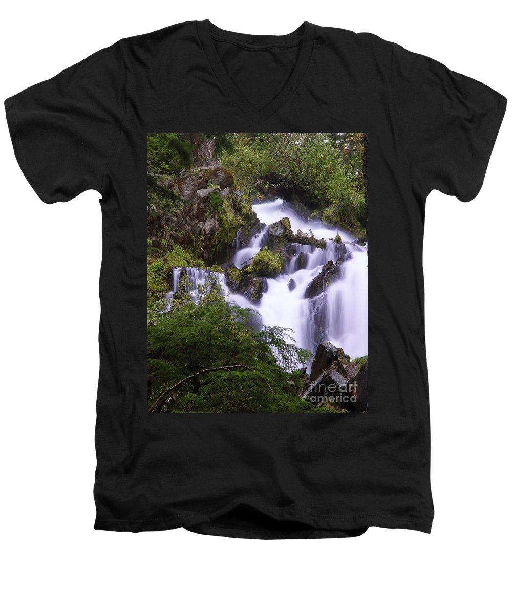 Waterfall Men's V-Neck T-Shirt featuring the photograph National Creek Falls 05 by Peter Piatt