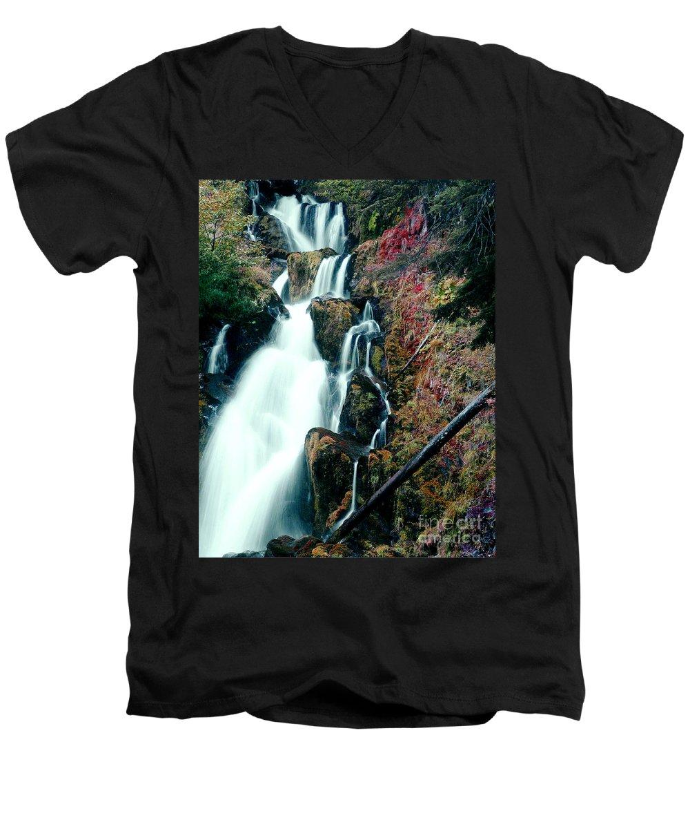Waterfall Men's V-Neck T-Shirt featuring the photograph National Creek Falls 07 by Peter Piatt