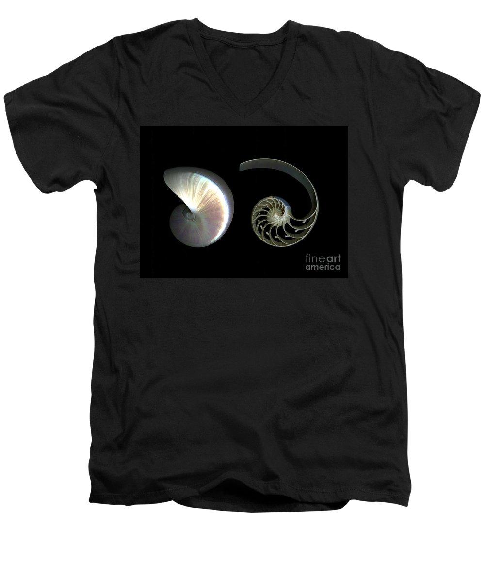 Nautilus Men's V-Neck T-Shirt featuring the photograph Nautilus Deconstructed by Christian Slanec