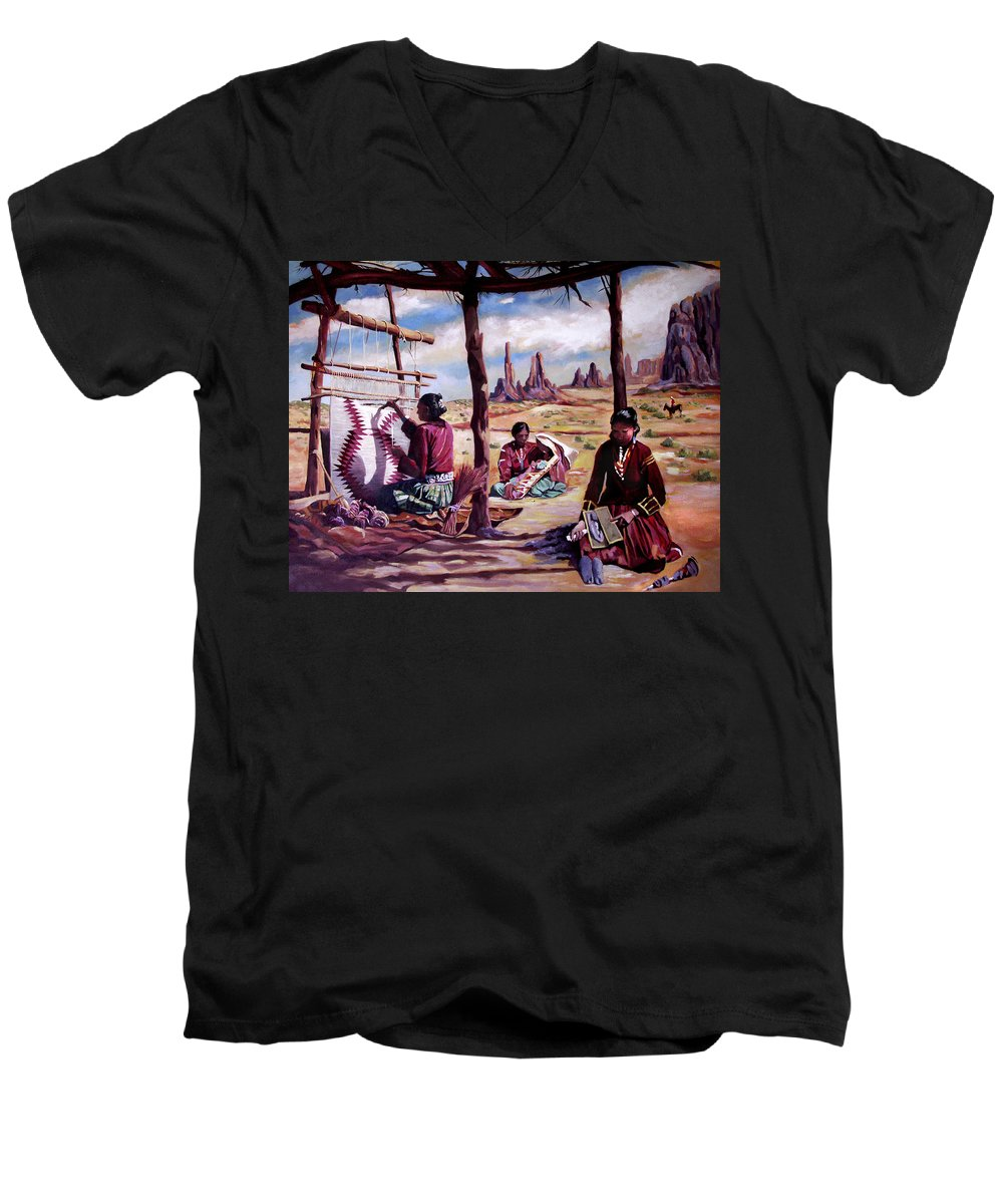 Native American Men's V-Neck T-Shirt featuring the painting Navajo Weavers by Nancy Griswold