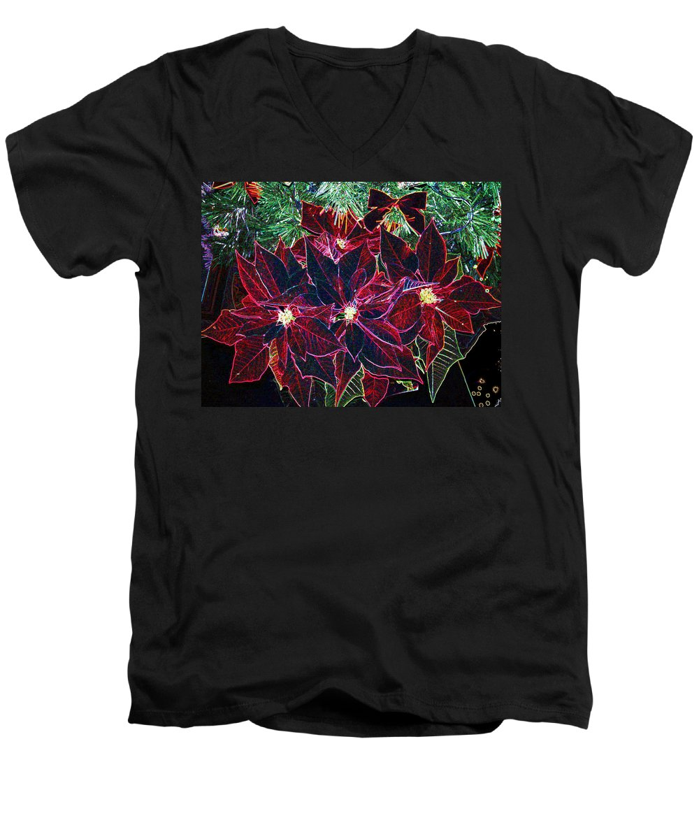 Flowers Men's V-Neck T-Shirt featuring the photograph Neon Poinsettias by Nancy Mueller