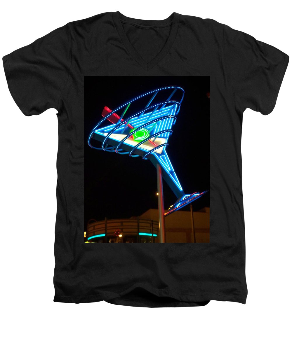 Fremont East Men's V-Neck T-Shirt featuring the photograph Neon Signs 4 by Anita Burgermeister