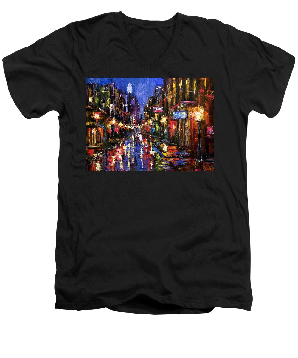 Cityscape Men's V-Neck T-Shirt featuring the painting New Orleans Storm by Debra Hurd