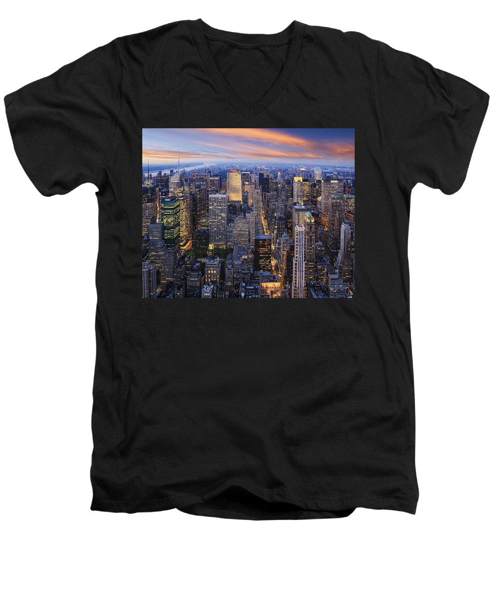 New York City Men's V-Neck T-Shirt featuring the photograph New York At Night by Kelley King