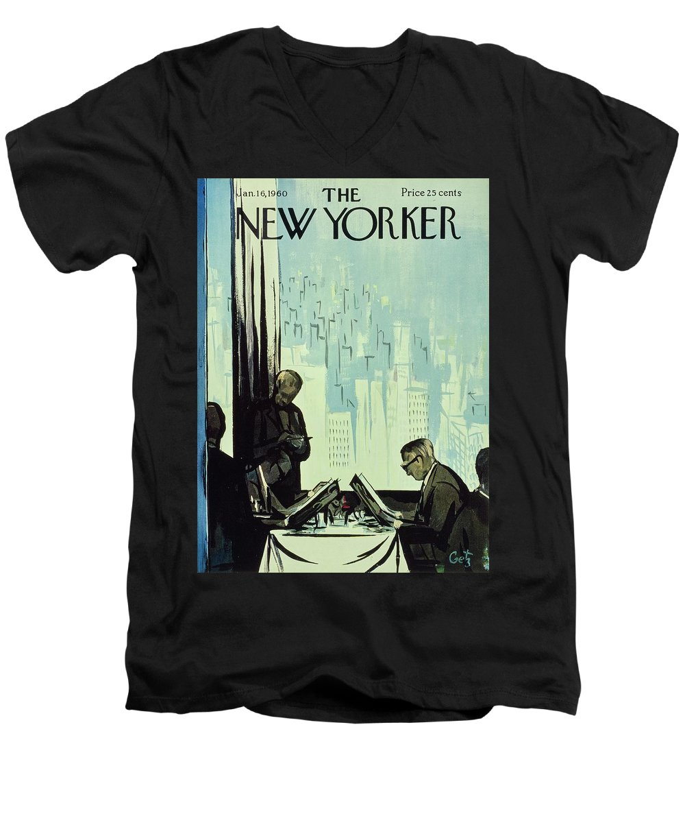 Illustration Men's V-Neck T-Shirt featuring the painting New Yorker January 16 1960 by Arthur Getz