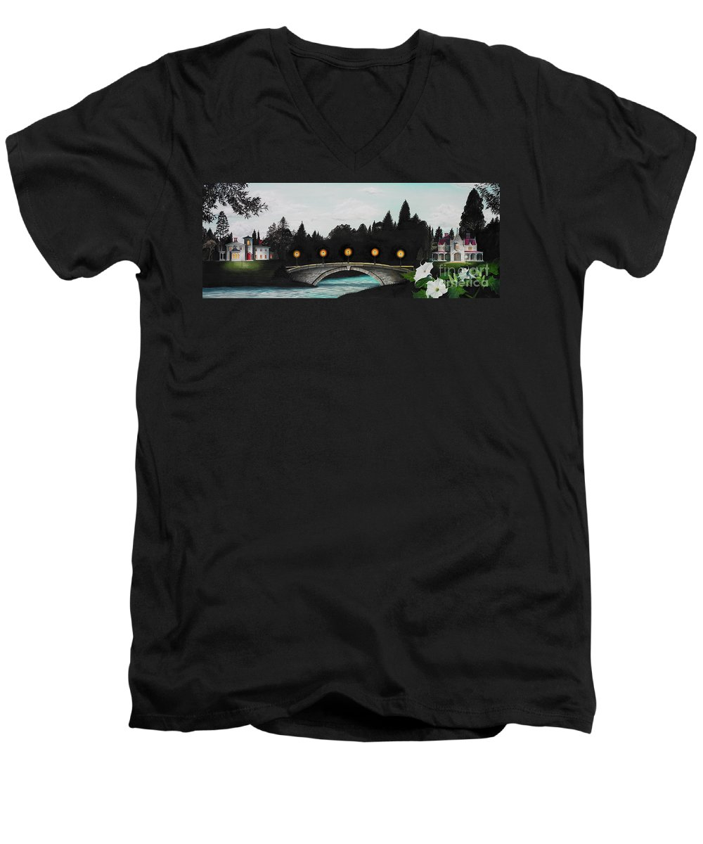 Architecture Men's V-Neck T-Shirt featuring the painting Night Bridge by Melissa A Benson