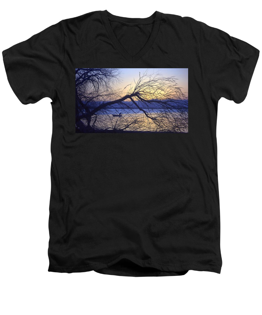 Barr Lake Men's V-Neck T-Shirt featuring the photograph Night Fishing In Barr Lake Colorado by Merja Waters