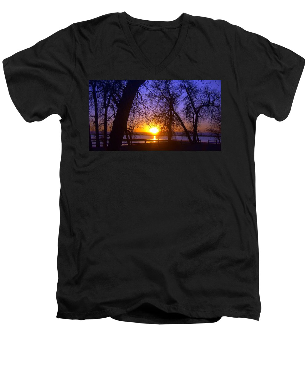 Barr Lake Men's V-Neck T-Shirt featuring the photograph Night In Barr Lake Colorado by Merja Waters