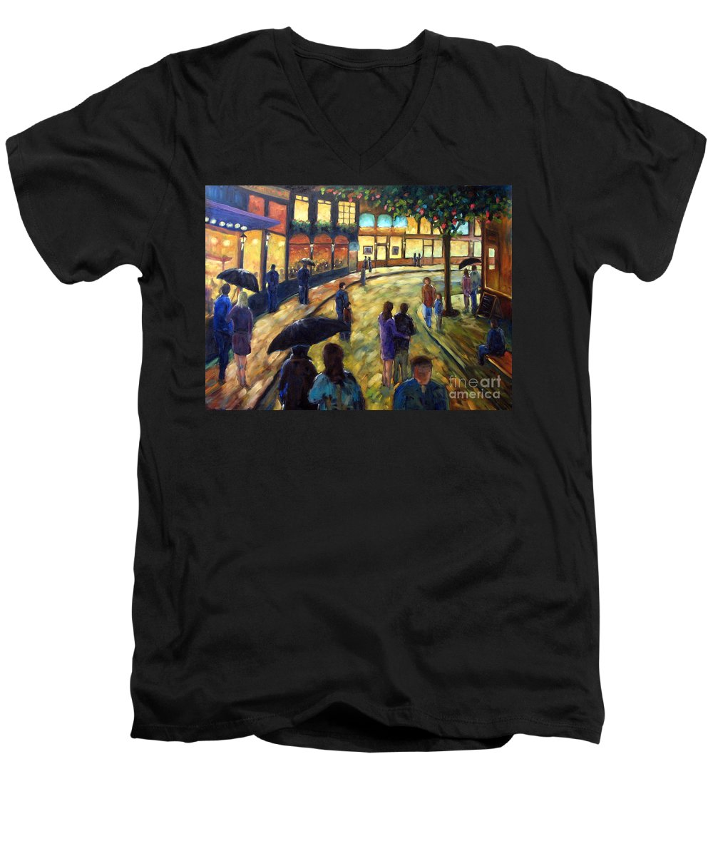 Cityscape Men's V-Neck T-Shirt featuring the painting Night On The Town by Richard T Pranke