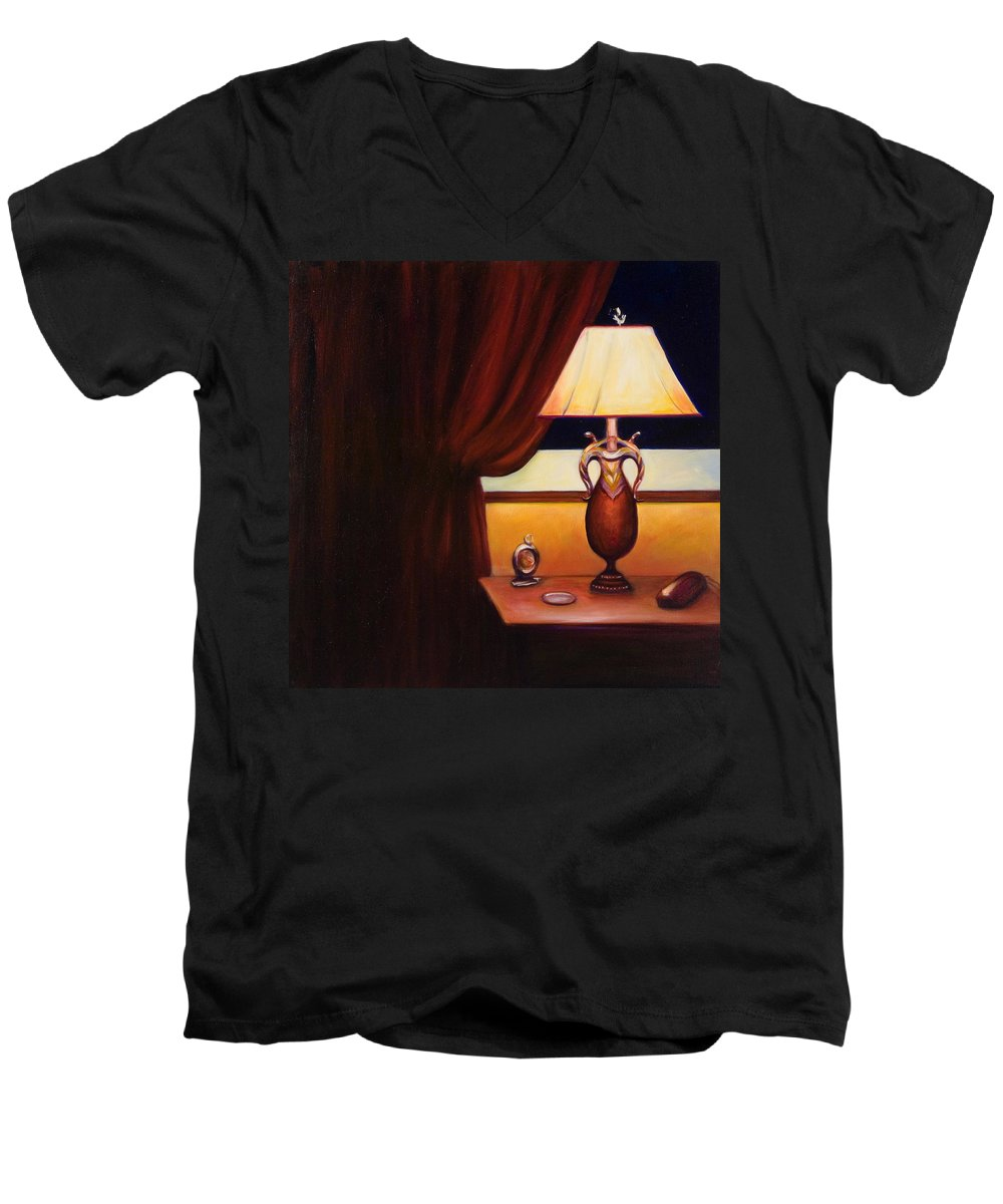 Still Life Red Men's V-Neck T-Shirt featuring the painting Night by Shannon Grissom