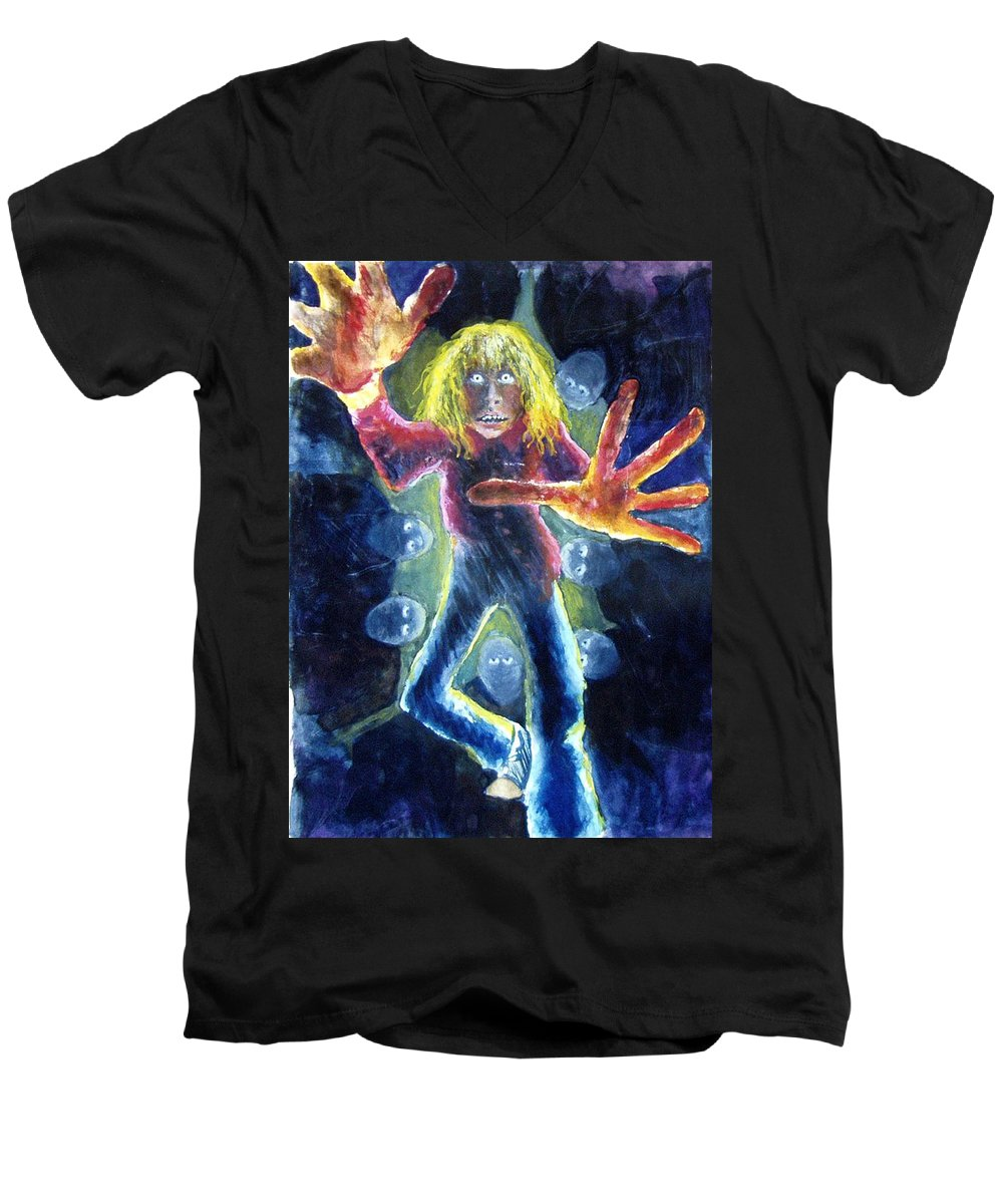 Nightmare Men's V-Neck T-Shirt featuring the painting Nightmare by Nancy Mueller