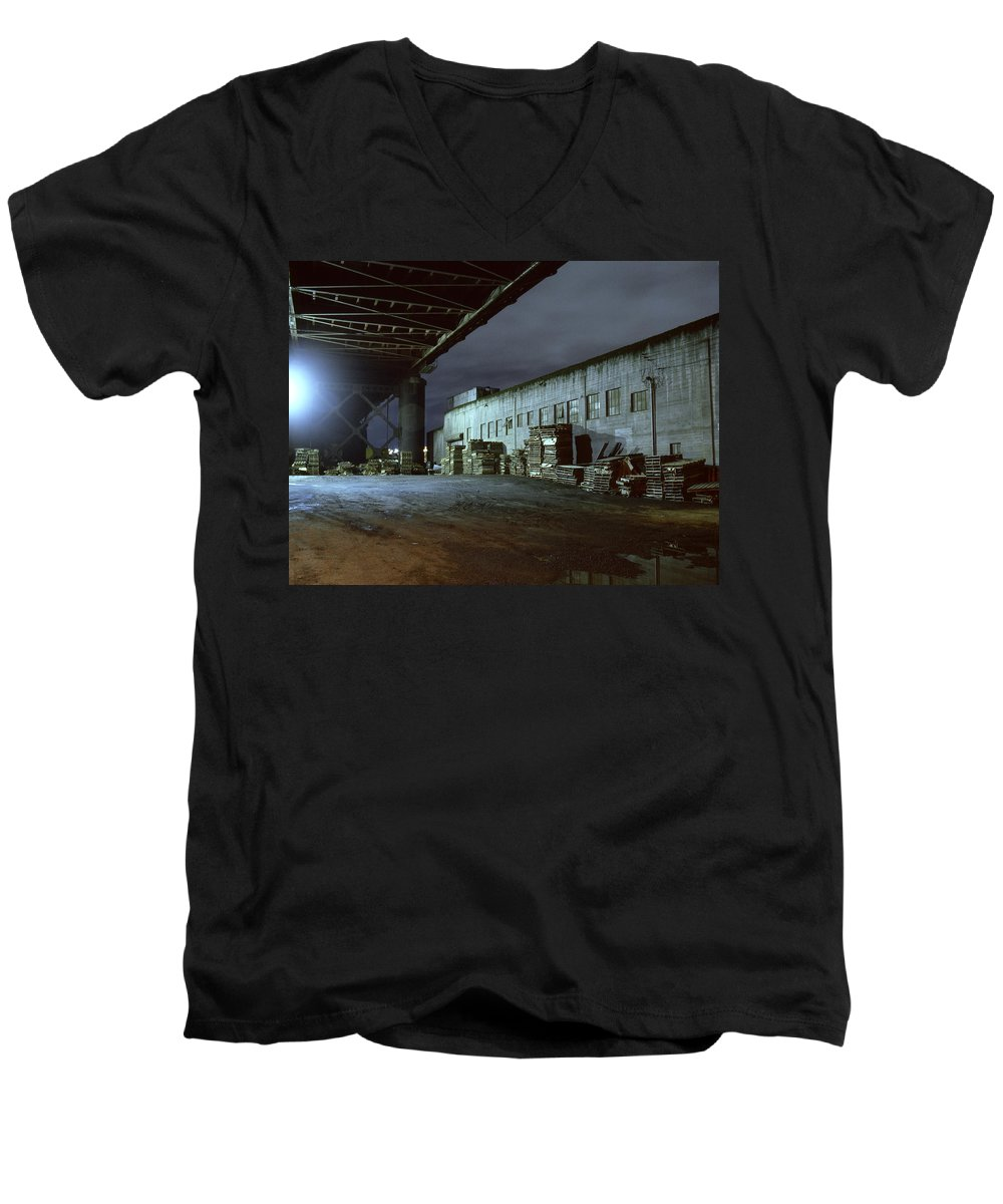 Nightscape Men's V-Neck T-Shirt featuring the photograph Nightscape 1 by Lee Santa