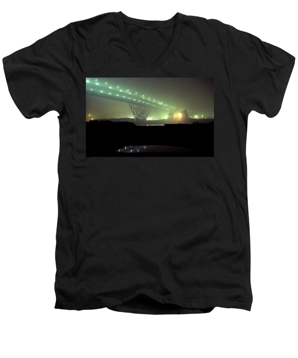 Night Photo Men's V-Neck T-Shirt featuring the photograph Nightscape 3 by Lee Santa