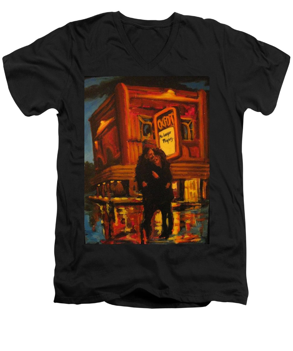 Wet Streets Men's V-Neck T-Shirt featuring the painting No Longer Playing by John Malone