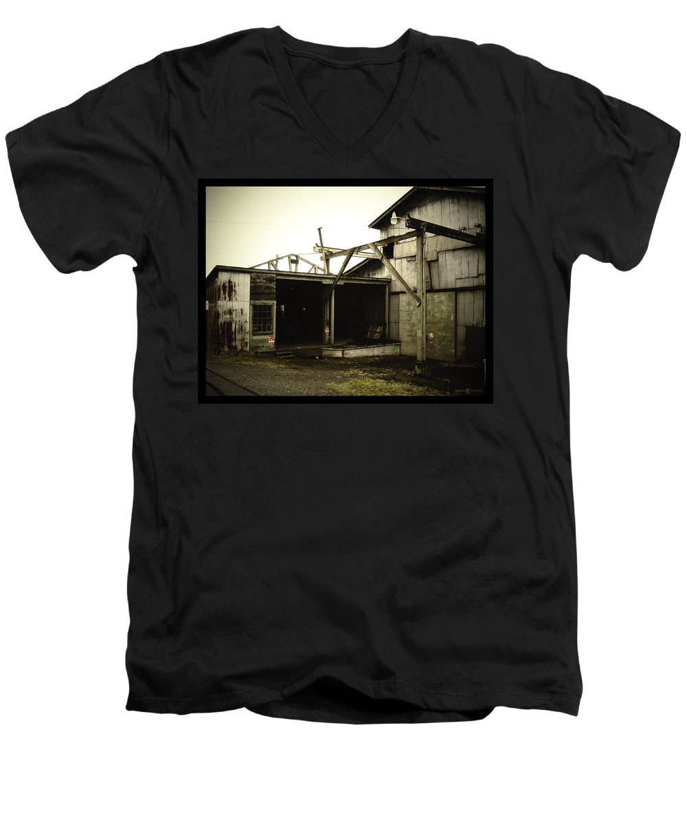 Warehouse Men's V-Neck T-Shirt featuring the photograph No Trespassing by Tim Nyberg