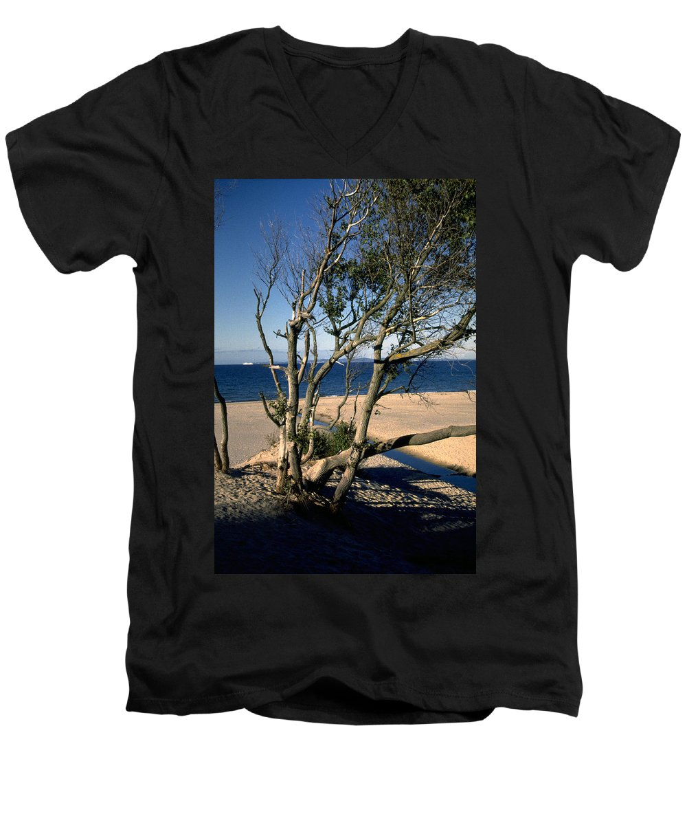 Denmark Men's V-Neck T-Shirt featuring the photograph Nordic Beach by Flavia Westerwelle