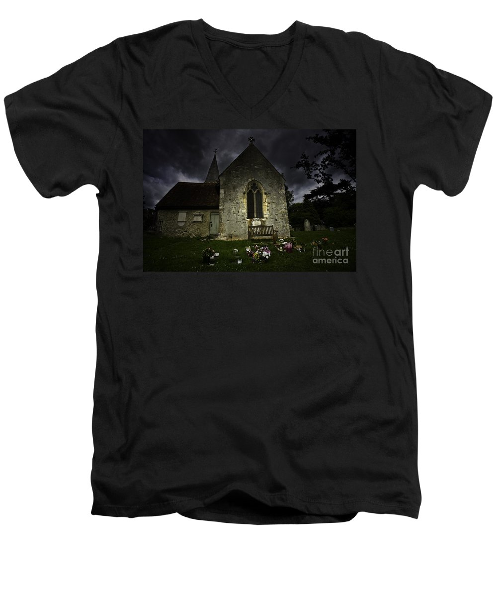 Church Men's V-Neck T-Shirt featuring the photograph Norman Church At Lissing Hampshire England by Sheila Smart Fine Art Photography