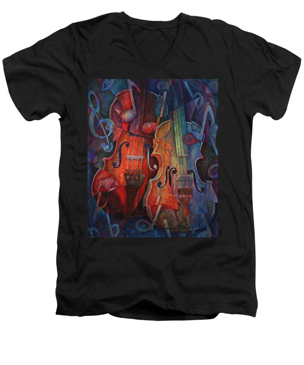 Susanne Clark Men's V-Neck T-Shirt featuring the painting Noteworthy - A Viola Duo by Susanne Clark