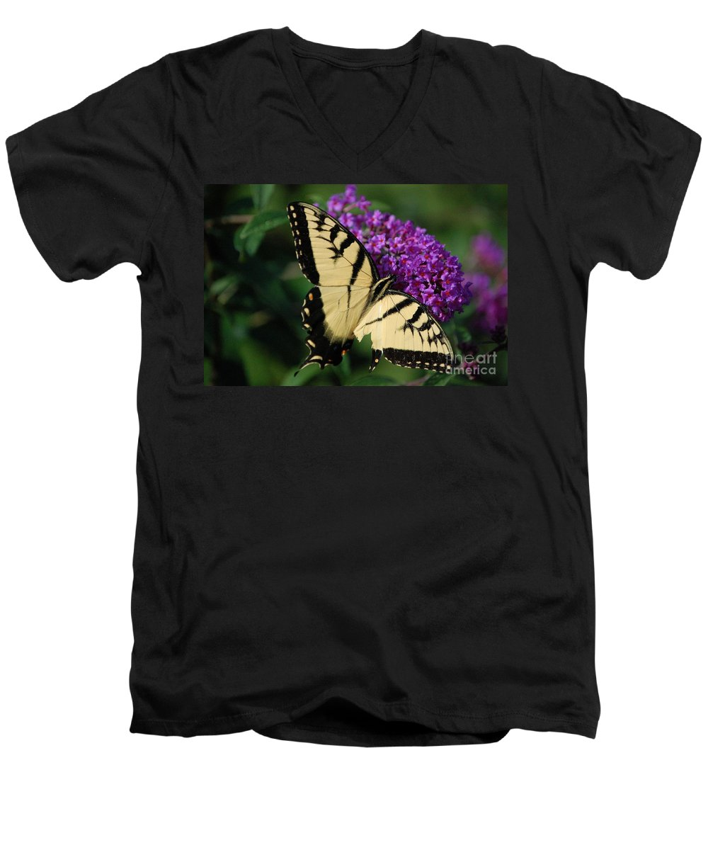 Butterfly Men's V-Neck T-Shirt featuring the photograph Nothing Is Perfect by Debbi Granruth