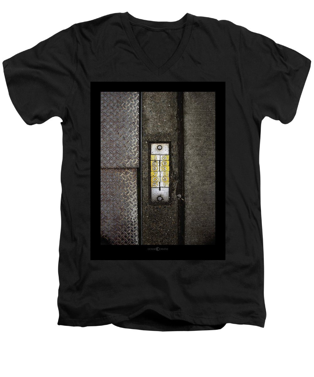 Numbers Men's V-Neck T-Shirt featuring the photograph Numbers On The Sidewalk by Tim Nyberg