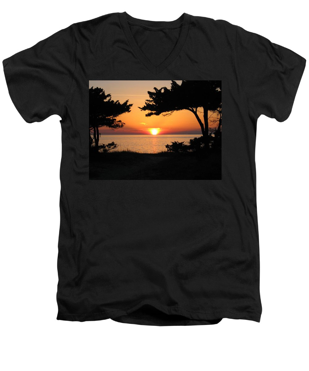 Ocracoke Men's V-Neck T-Shirt featuring the photograph Ocracoke Island Winter Sunset by Wayne Potrafka