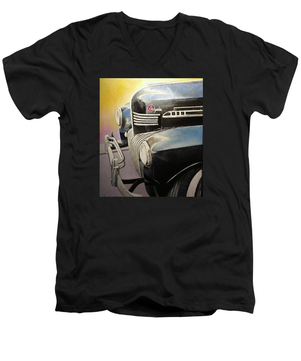 Old Men's V-Neck T-Shirt featuring the painting Old Chrysler by Tomas Castano