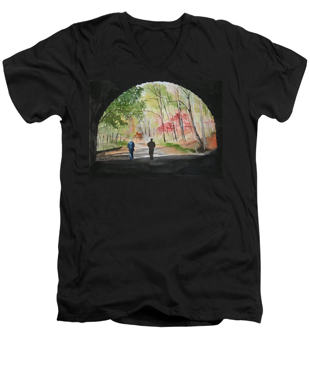 Road Men's V-Neck T-Shirt featuring the painting On The Road To Nowhere by Jean Blackmer