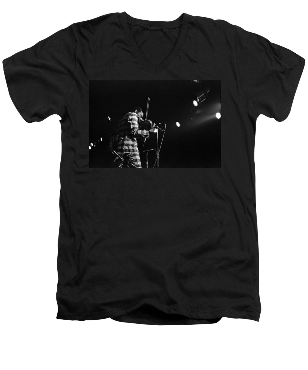 Ornette Coleman Men's V-Neck T-Shirt featuring the photograph Ornette Coleman On Violin by Lee Santa