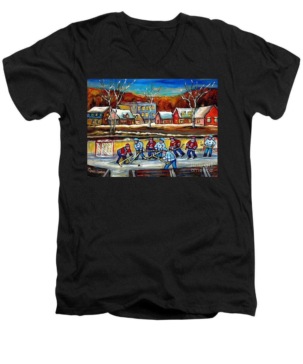 Country Hockey Rink Men's V-Neck T-Shirt featuring the painting Outdoor Hockey Rink by Carole Spandau