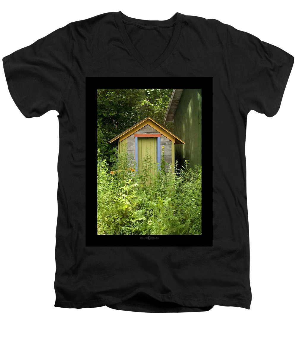 Outhouse Men's V-Neck T-Shirt featuring the photograph Outhouse by Tim Nyberg