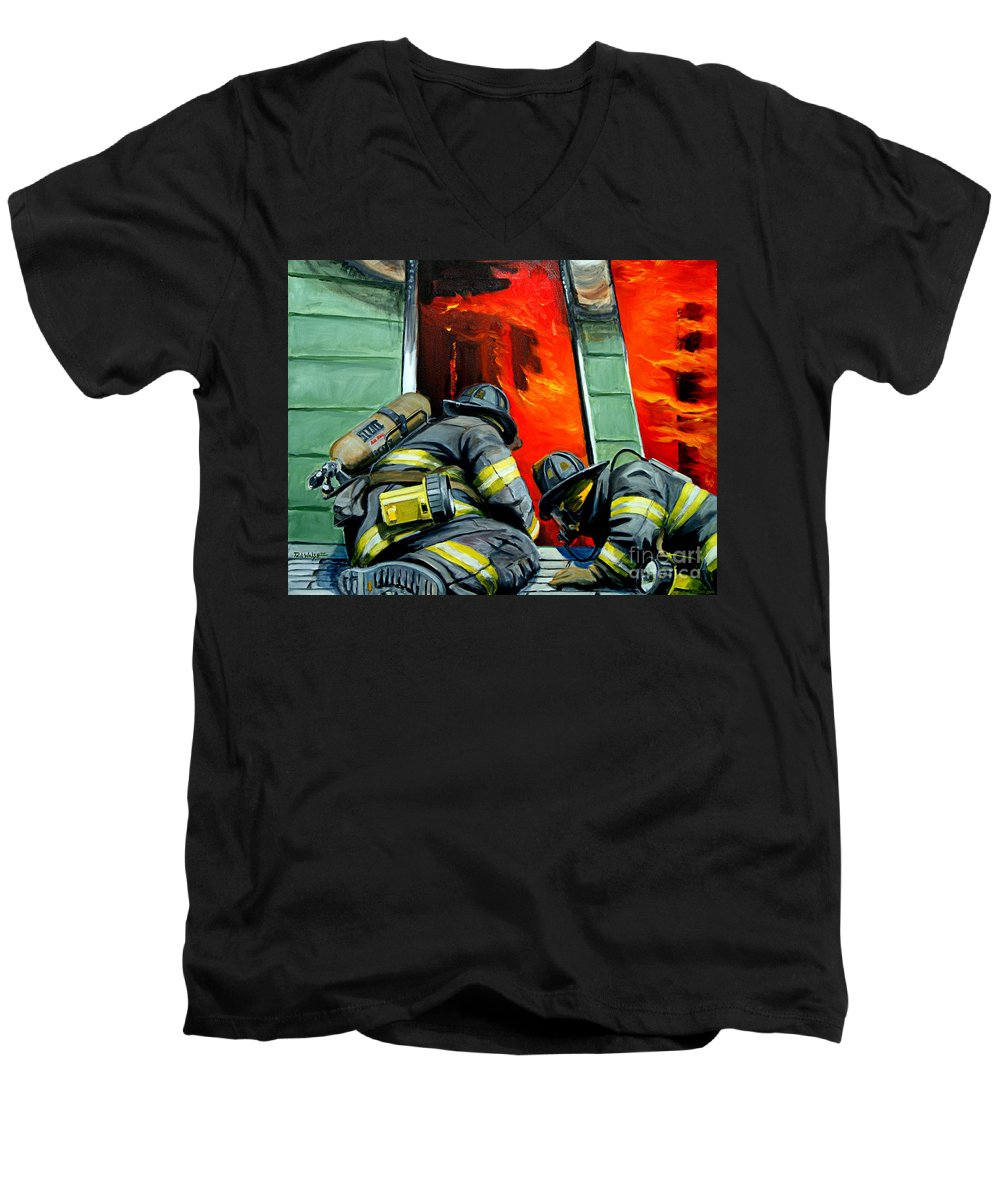 Firefighting Men's V-Neck T-Shirt featuring the painting Outside Roof by Paul Walsh