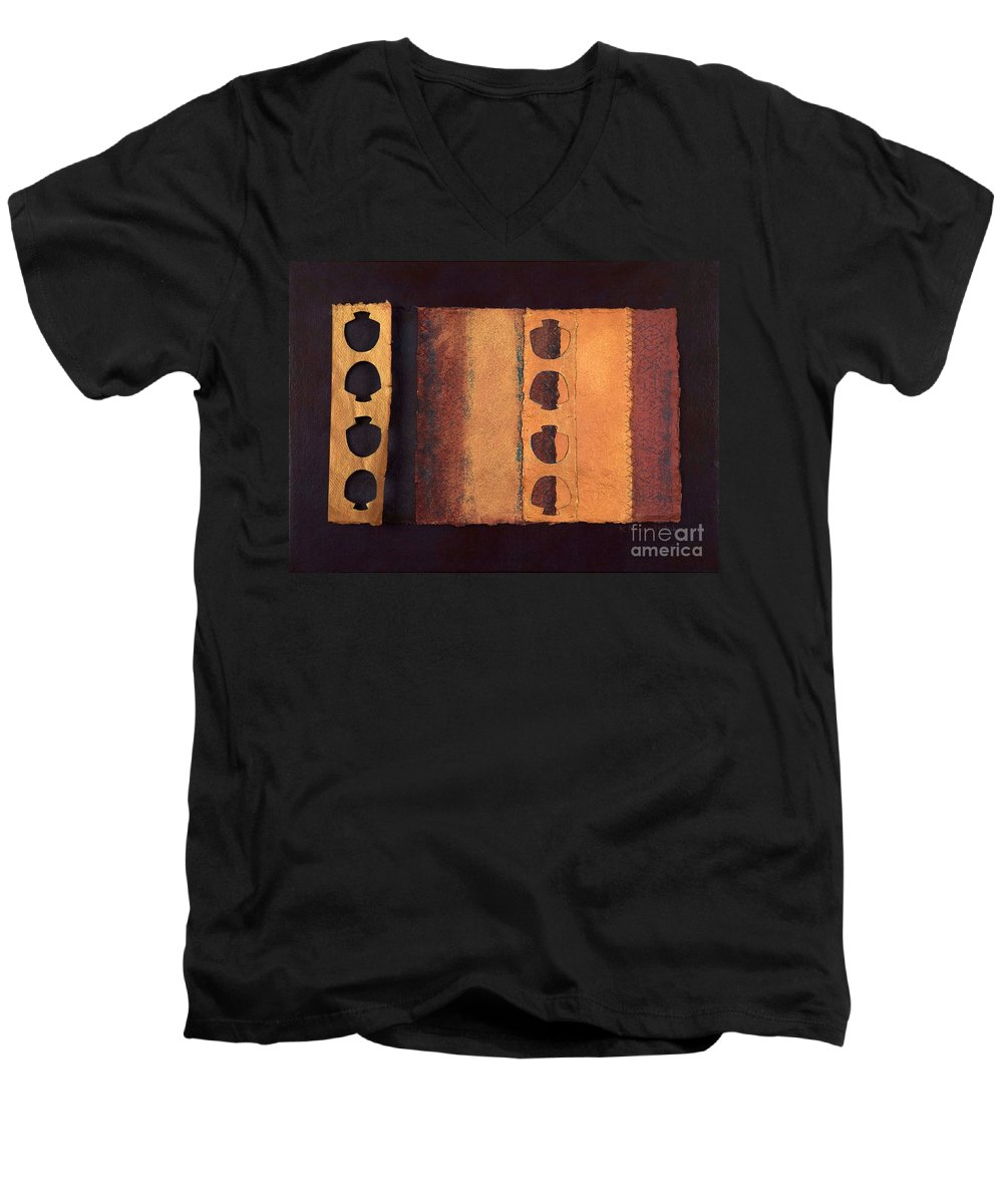 Pageformat Men's V-Neck T-Shirt featuring the mixed media Page Format No 3 Tansitional Series  by Kerryn Madsen-Pietsch