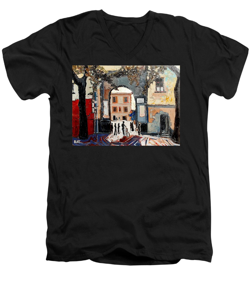 Tuscany Men's V-Neck T-Shirt featuring the painting Palazzo Vecchio by Kurt Hausmann