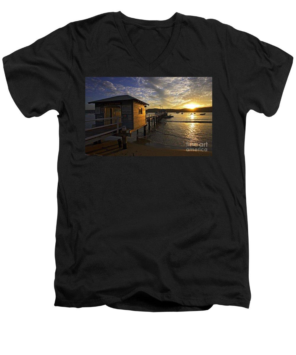 Palm Beach Sydney Australia Sunset Water Pittwater Men's V-Neck T-Shirt featuring the photograph Palm Beach Sunset by Avalon Fine Art Photography