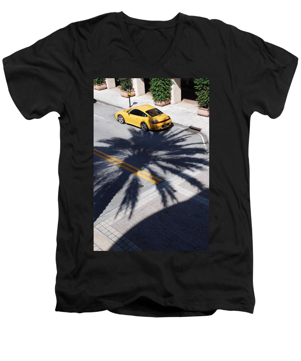 Porsche Men's V-Neck T-Shirt featuring the photograph Palm Porsche by Rob Hans