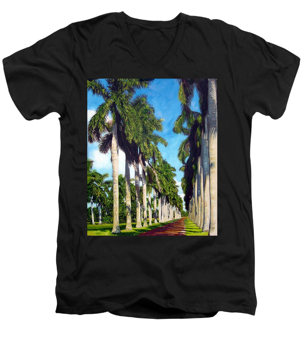Palms Men's V-Neck T-Shirt featuring the painting Palms by Jose Manuel Abraham