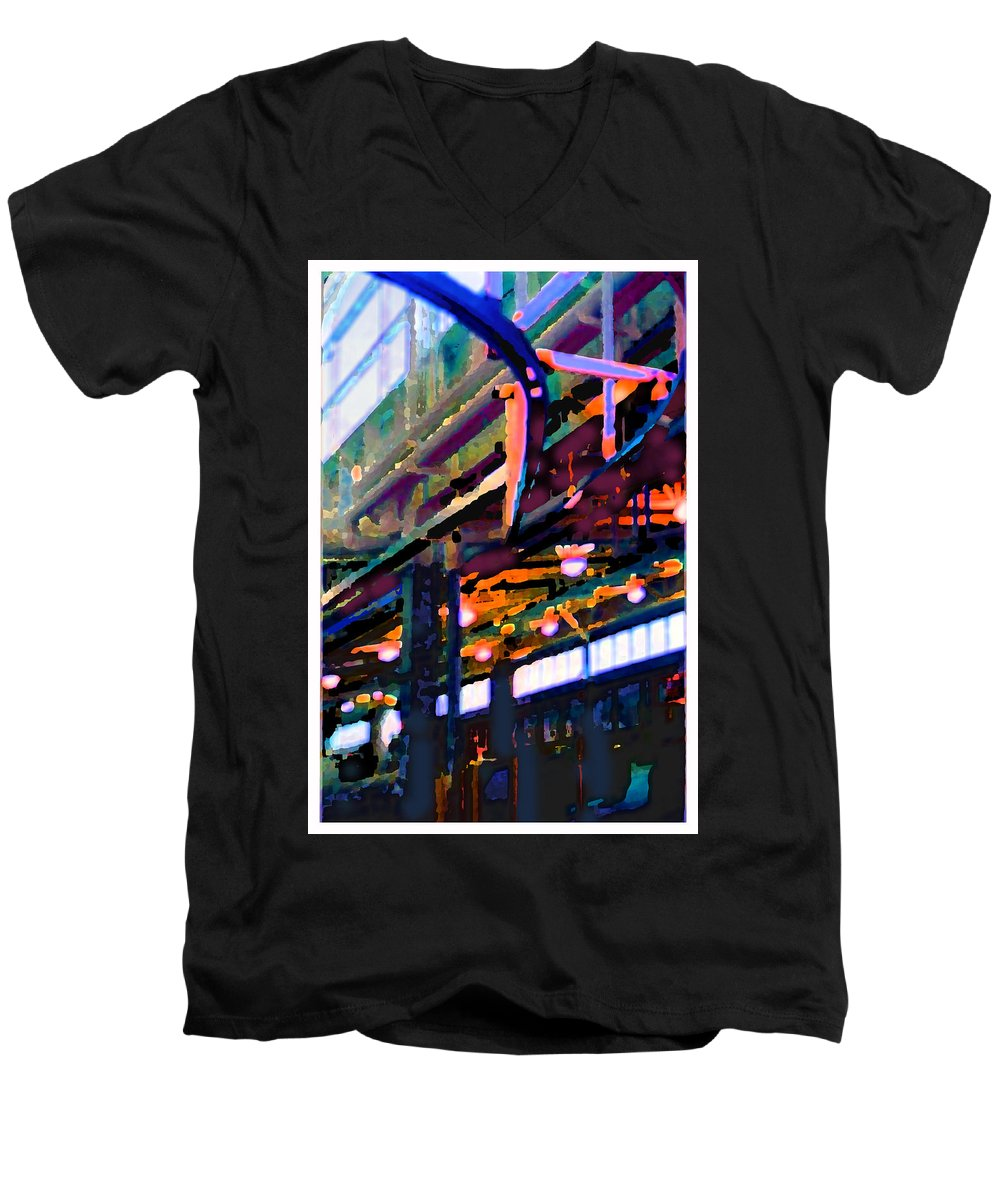 Abstract Men's V-Neck T-Shirt featuring the photograph panel two from Star Factory by Steve Karol
